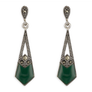 Sterling Silver Marcasite and Green Agate Art Deco Style Drop Stud Earrings
